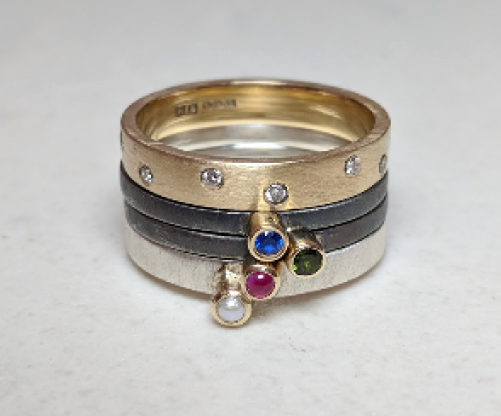 bespoke rings, coloured stones, diamonds, 9ct gold, silver, blackened silver, satin gold, matt gold, stack rings, eternity rings, family, anniversary