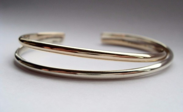 9ct Two Colour Gold crossover bangle