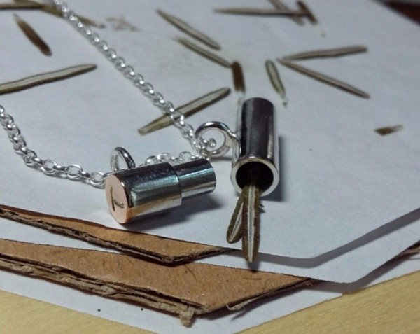Silver & 9ct Rose Gold pendant phials